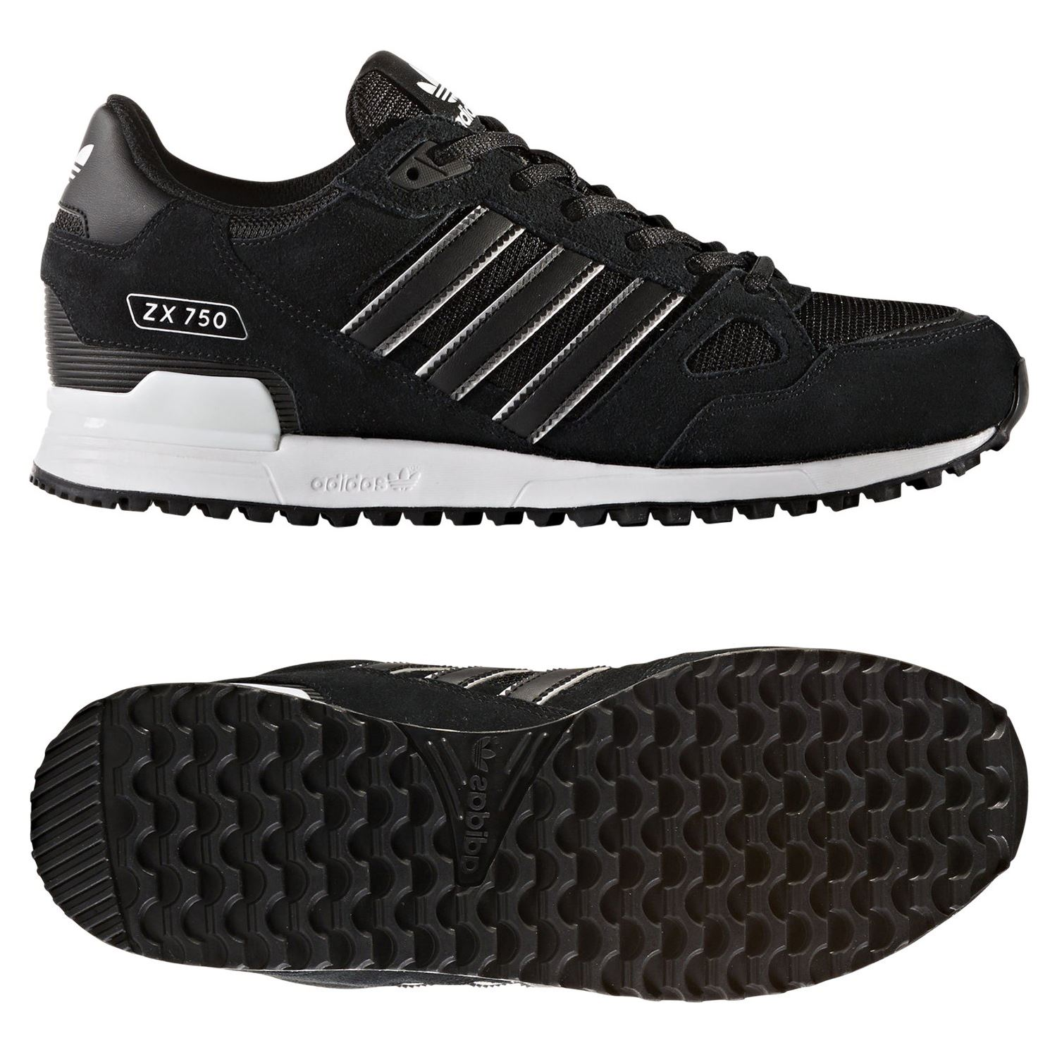 4001d84bf Details about adidas ORIGINALS MEN S ZX 750 TRAINERS BLACK SHOES SNEAKERS  RETRO 90S 80S RARE