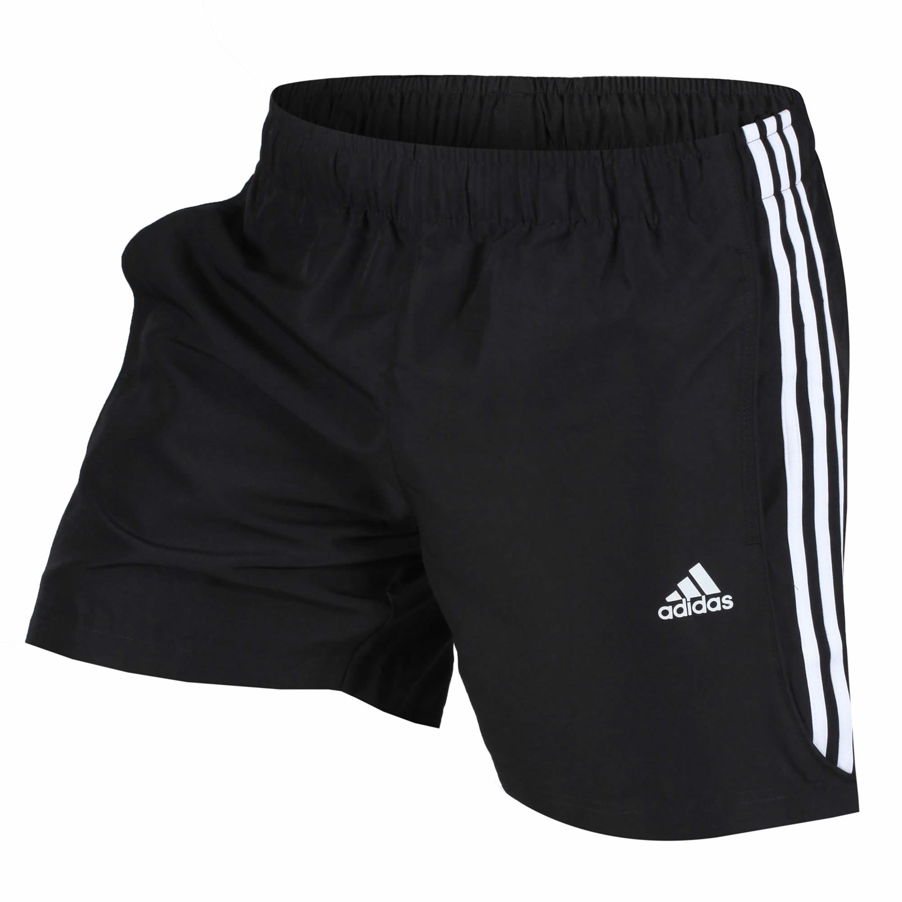 info for 39be0 a29a6 adidas ESSENTIALS 3 STRIPE CHELSEA SHORTS MENS BLACK WHITE CLIMALITE GYM