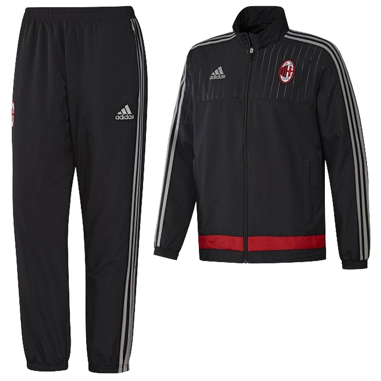 Adidas AC Mailand Präsentation Trainingsanzug BLACK BOTTOMS TRACK TOP Hose  Fußball e3f2277e74