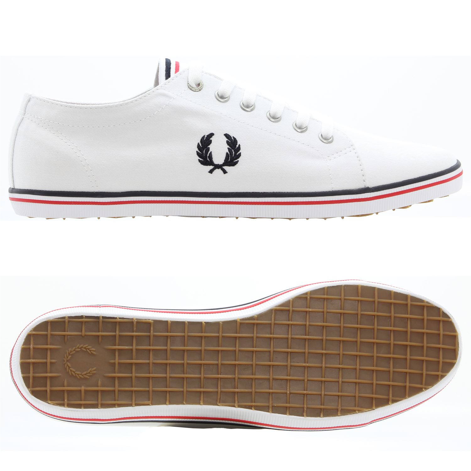 Details zu FRED PERRY KINGSTON TWILL SHOE WHITE RETRO TRAINER CANVAS SMART CASUAL SUMMER
