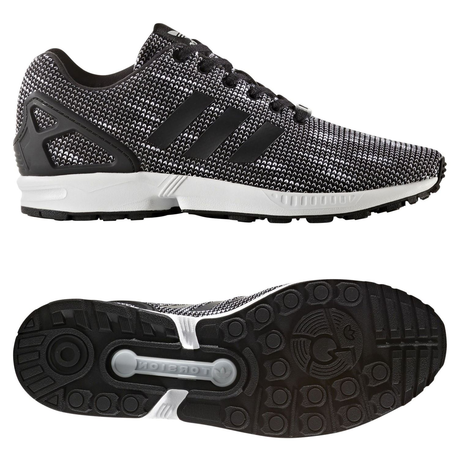 promo code 358f2 6b3e5 Details about adidas ORIGINALS ZX FLUX TRAINERS BLACK SNEAKERS SHOES MEN'S  TORSION 3 STRIPES