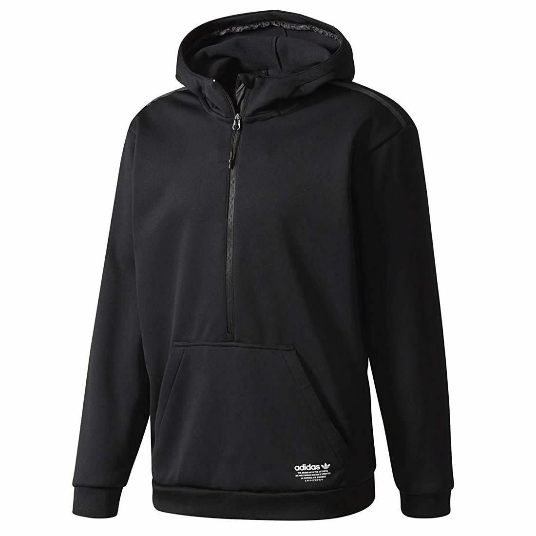 adidas Originals Men/'s Full Zip Hooded Jacket Trefoil Logo Hoodie Black XS