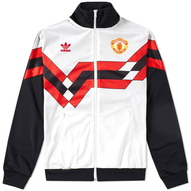 Adidas originales MANCHESTER UNITED TRACK chaqueta blanco RETRO de los 90  hombres de material 51aed76825353