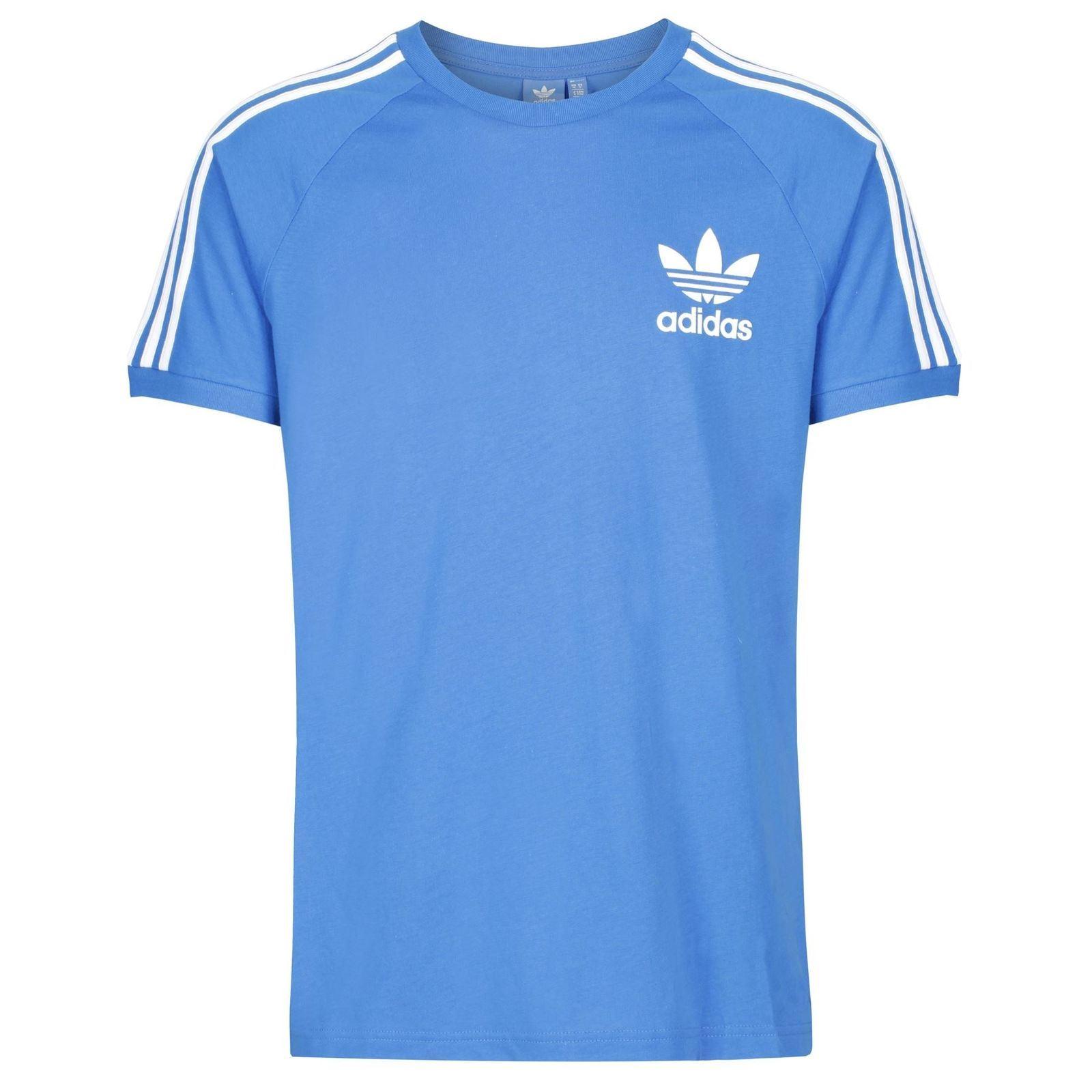Adidas-Originals-California-T-Shirt-homme-a-encolure-ras-du-cou-haut-bleu-blanc-gris-bleu-marine miniature 5