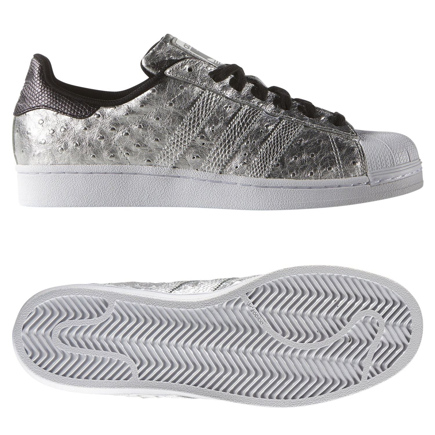 competitive price e81ce e5a97 adidas ORIGINALS MEN S SUPERSTAR TRAINERS SILVER SHOES SNEAKERS RARE  SNAKESKIN. Item Description. The adidas Superstar shoe stepped onto  basketball courts ...