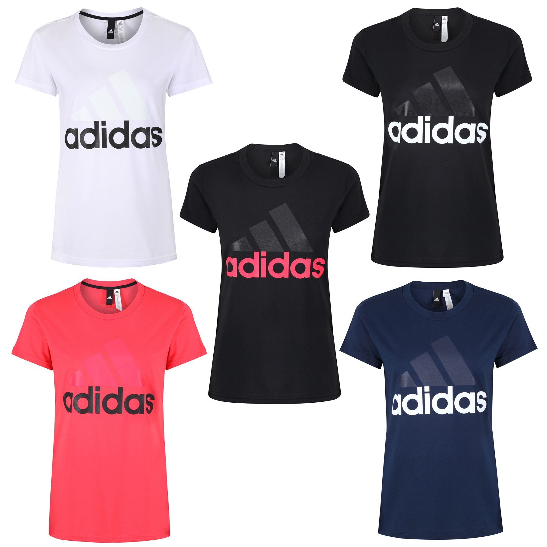 0bfc89be Details about adidas ESSENTIALS LINEAR T SHIRT TEE WOMEN'S BLACK PINK WHITE  NAVY RUNNING GYM