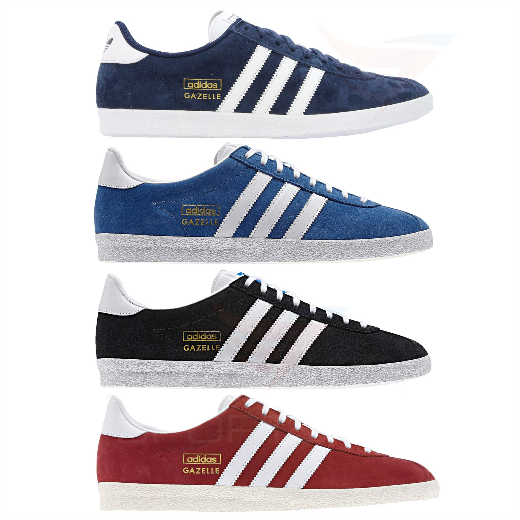 new concept 74e85 3a5c0 adidas GAZELLE OG TRAINERS SNEAKERS ORIGINALS SUEDE RED BLUE BLACK NAVY  GOLD MEN  eBay