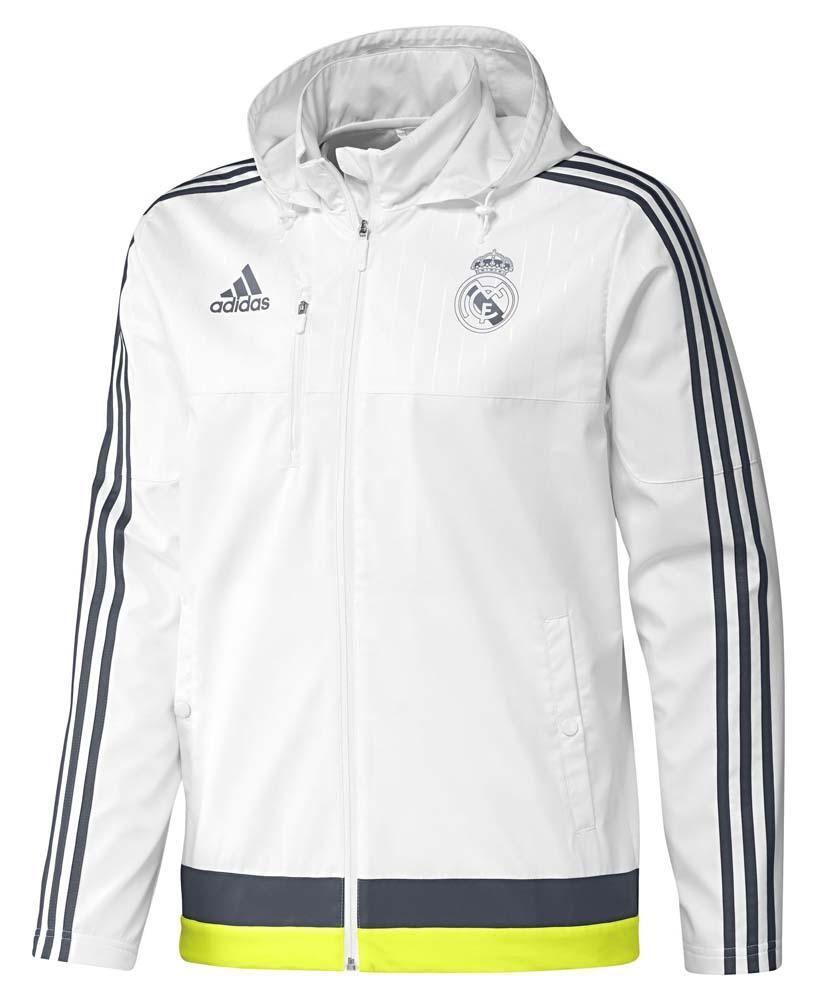 Adidas REAL MADRID viajes chaqueta 15 16 blanco con capucha entrenamiento  fútbol LA LIGA d0ee8c76edb06