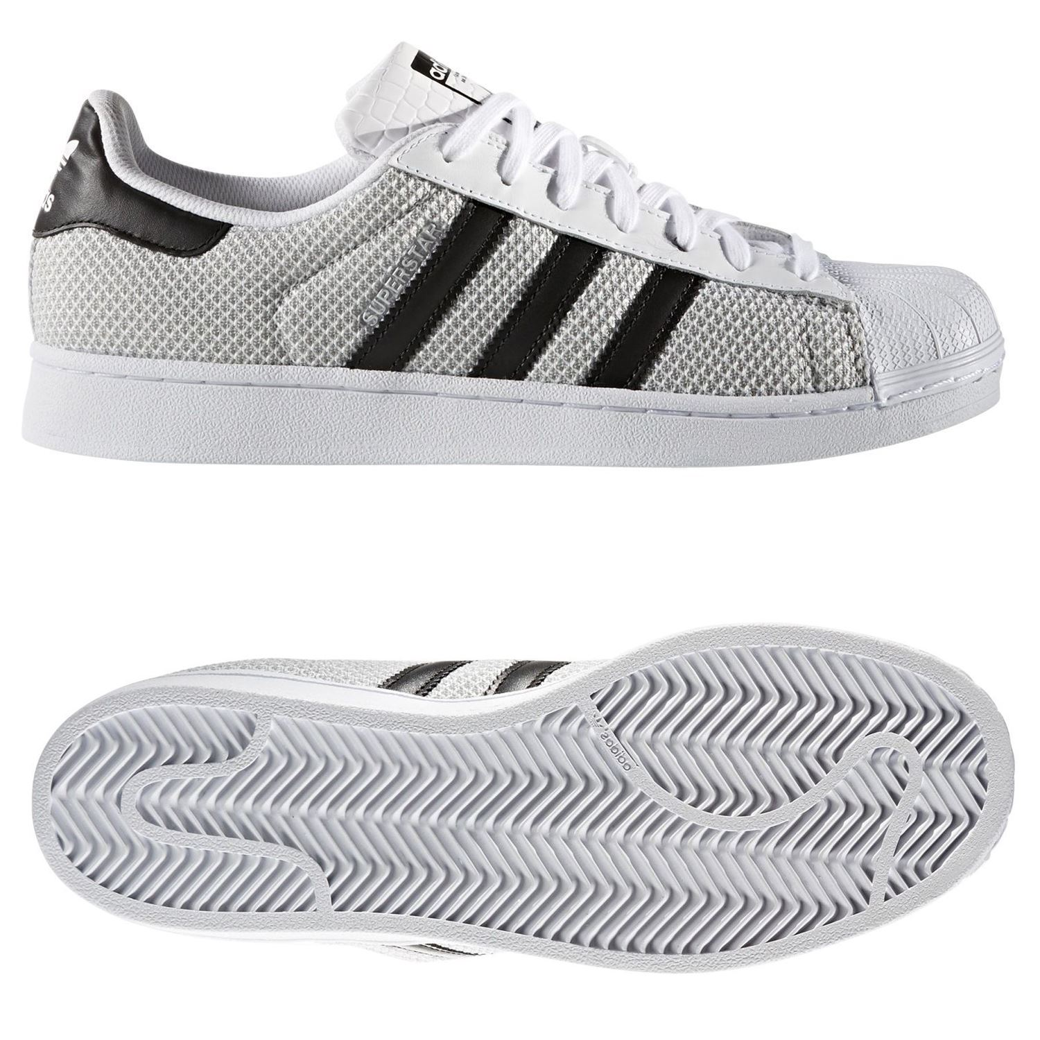 new concept 3a63c 711a9 Reino Unido SUPERSTAR zapatillas Blanco 4 5 9 tejido SHELL TOP zapato Adidas  ORIGINALS hombre