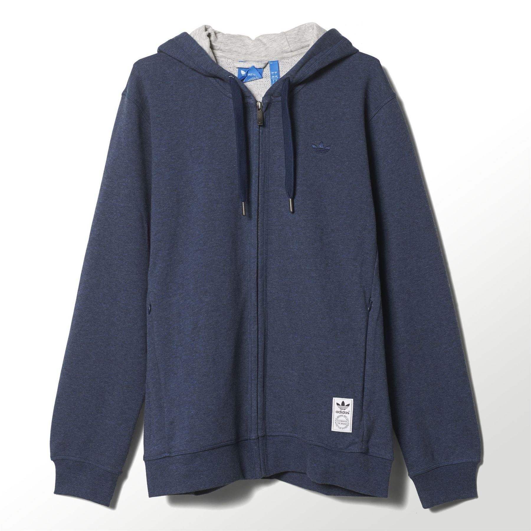 58fec46423 Dettagli su Adidas Originali UOMO XS Premium Fz Felpa con Cappuccio Blu  Pullover