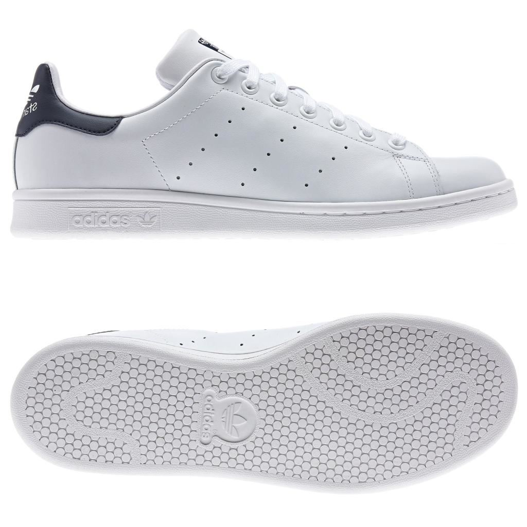 3411983f9af adidas ORIGINALS STAN SMITH TRINERS WHITE NAVY TENNIS MEN S SNEAKERS ...