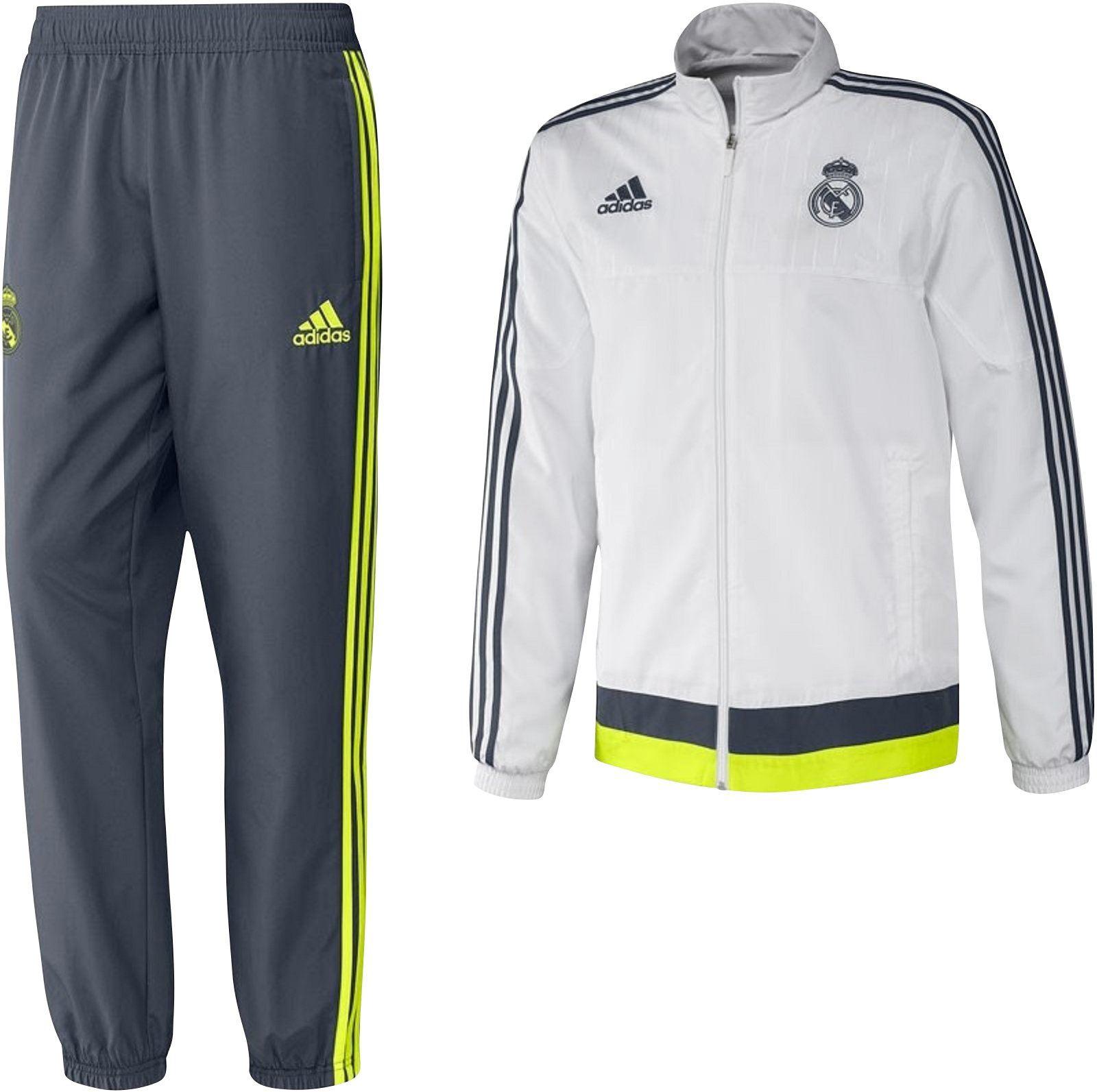 Presentación blanco gris nuevo Adidas REAL MADRID CHAMPIONS Liga pista  traje hombre 297636754ced7