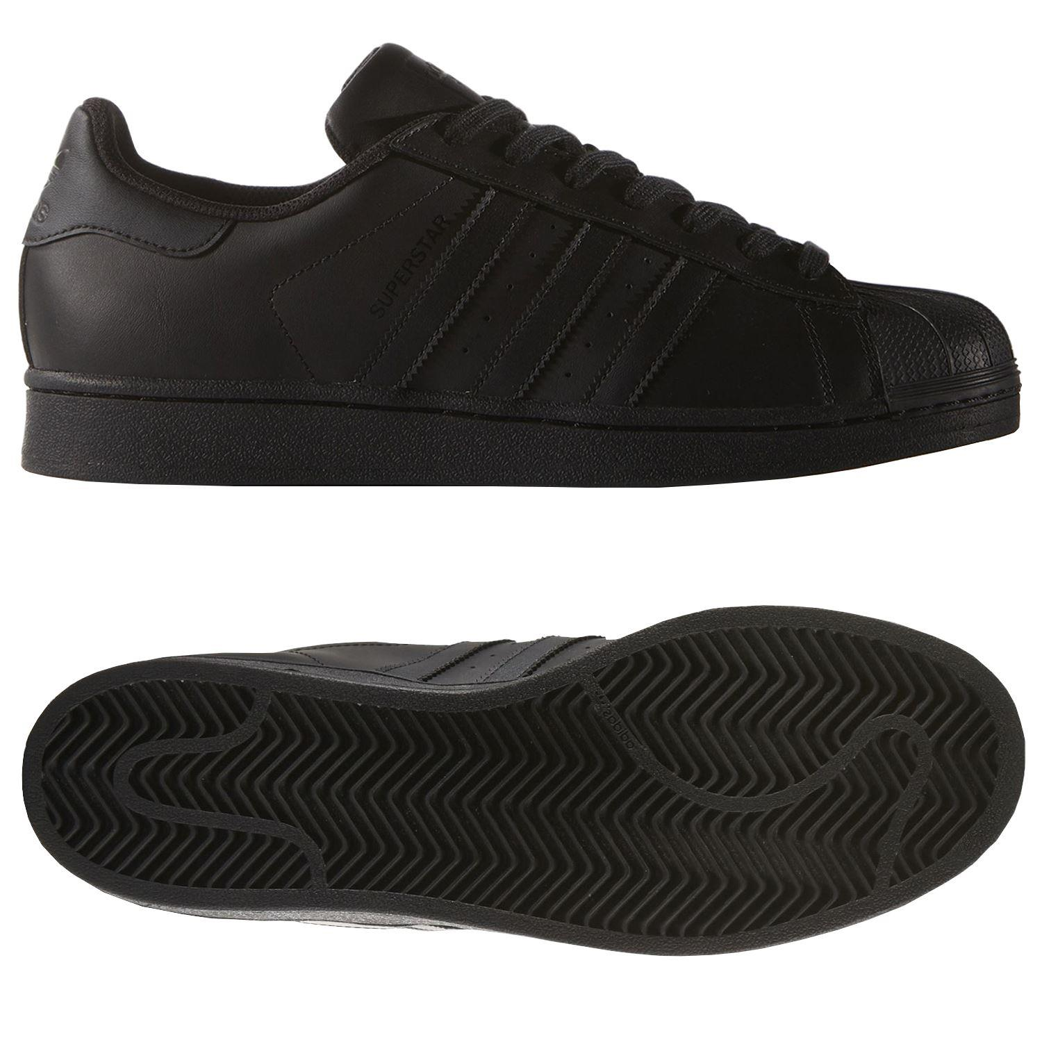 Mordrin Lógicamente Representar  adidas ORIGINALS SUPERSTAR FOUNDATION SHOES ALL BLACK TRAINERS MENS | eBay