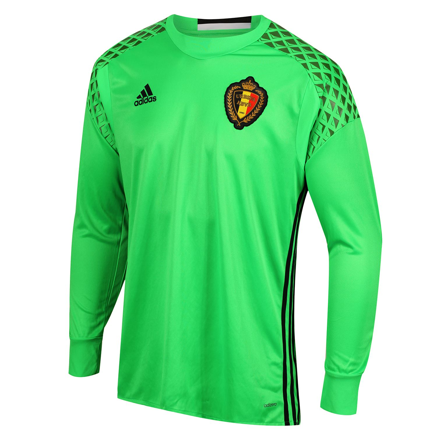 f34e60de9 adidas BELGIUM NATIONAL TEAM GOALKEEPER SHIRT GREEN MEN S LONG SLEEVE EUROS  NEW