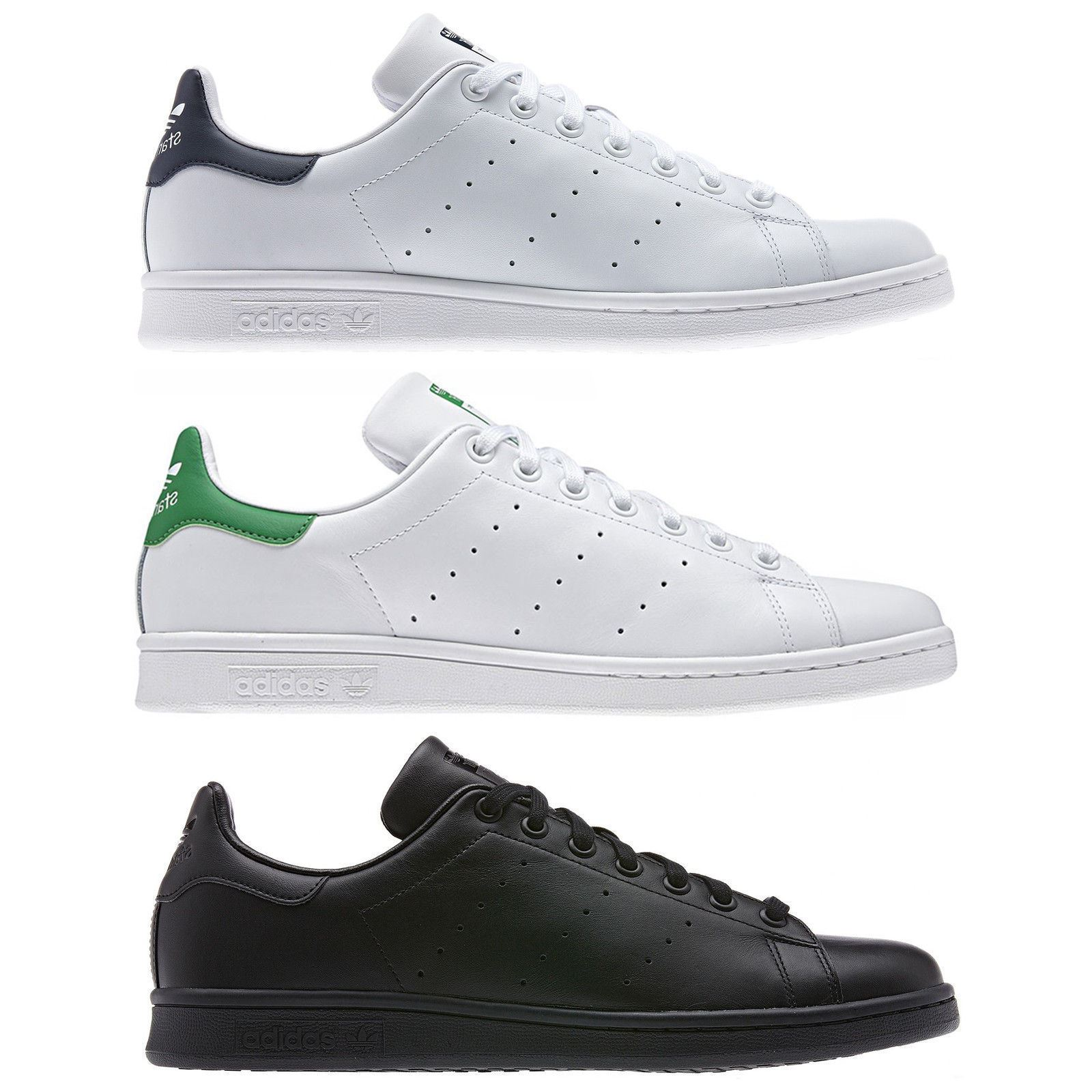 new style 7dbcd fccb7 Details about adidas ORIGINALS STAN SMITH TRAINERS NAVY GREEN BLACK WHITE  RETRO TENNIS SHOES