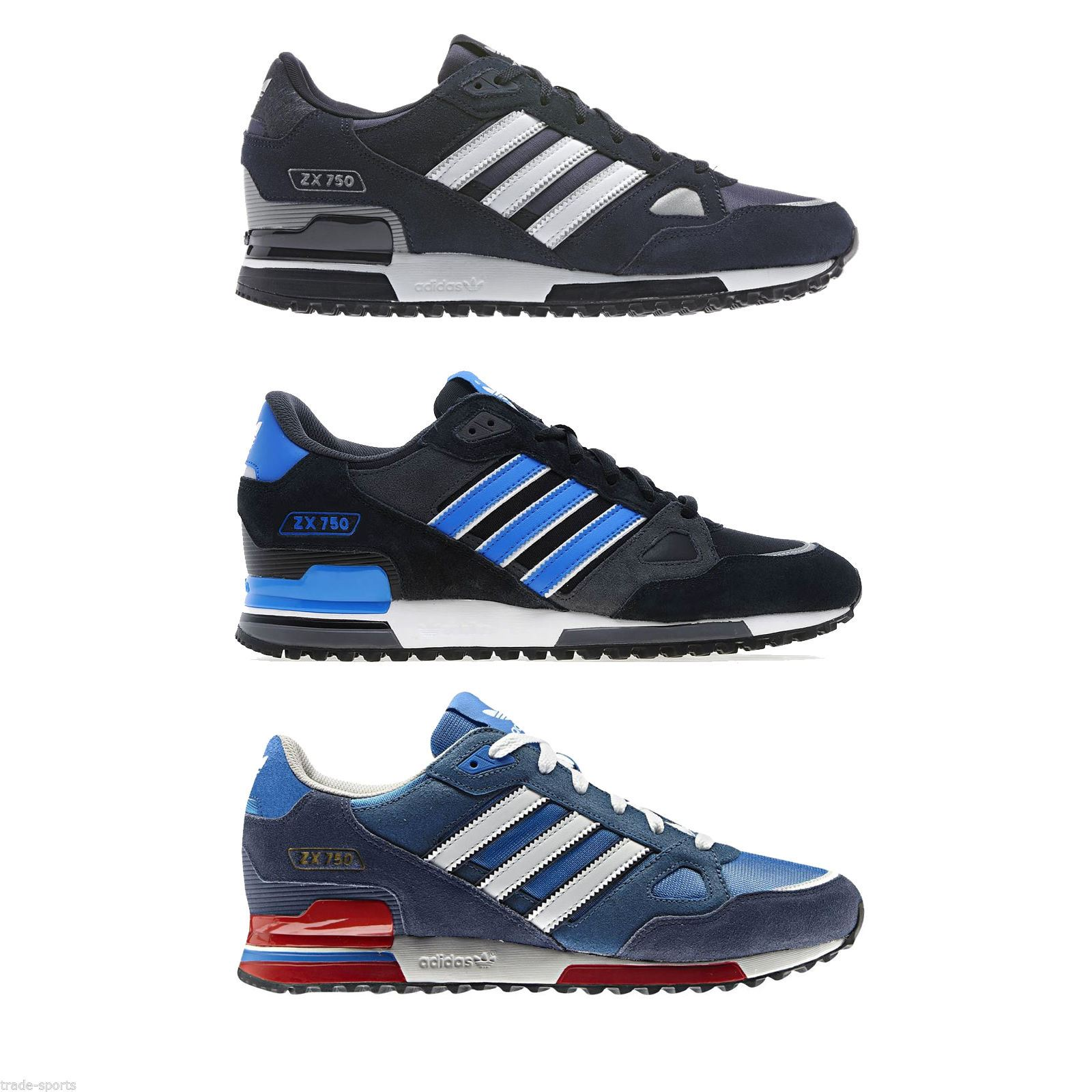 buy online 38238 439ad Details about ADIDAS ORIGINALS ZX 750 MENS RUNNING TRAINERS BLUE BLACK NAVY  SNEAKERS SHOES NEW