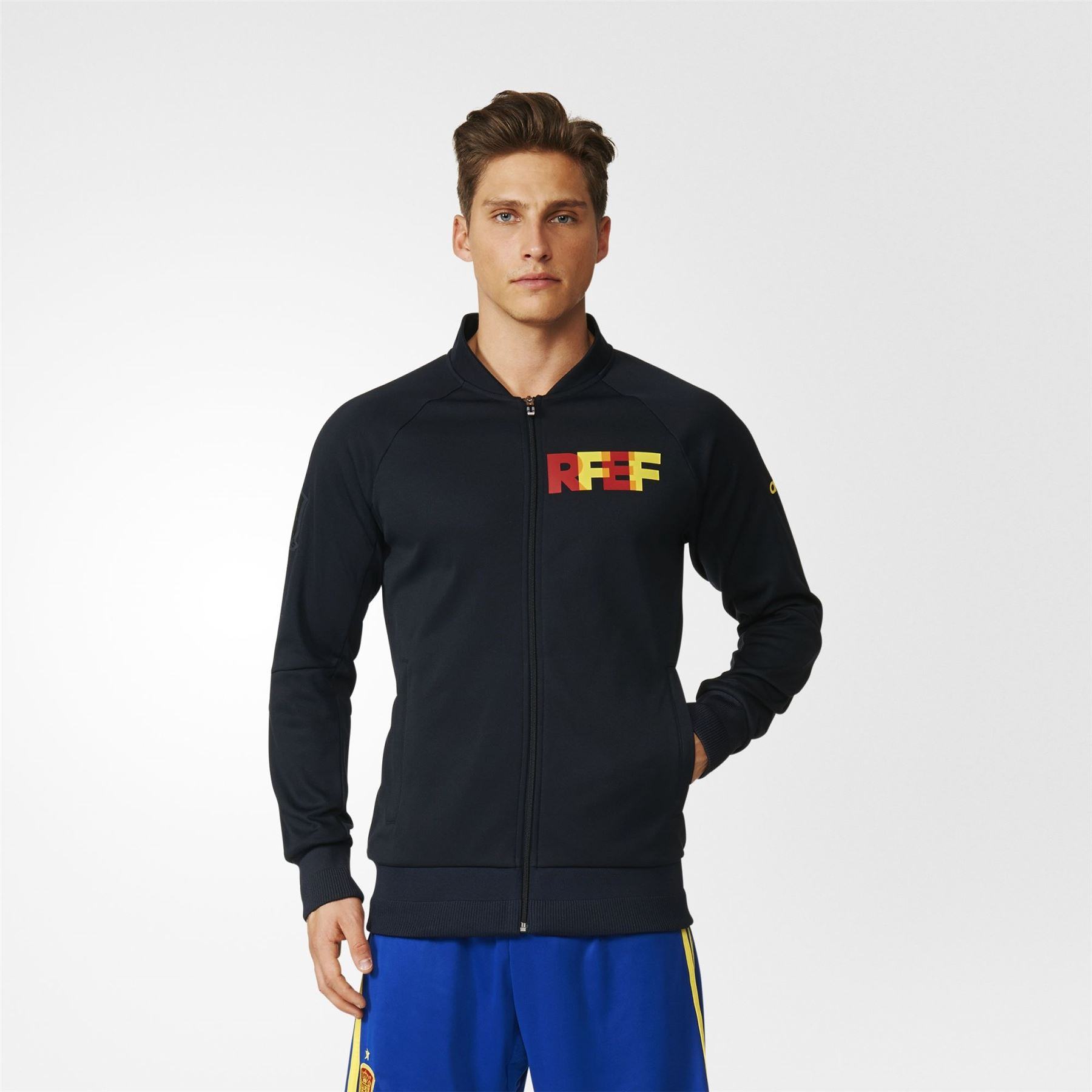 Details about adidas SPAIN NATIONAL TEAM KNIT ANTHEM JACKET BLACK ESPANA RFEF MEN'S