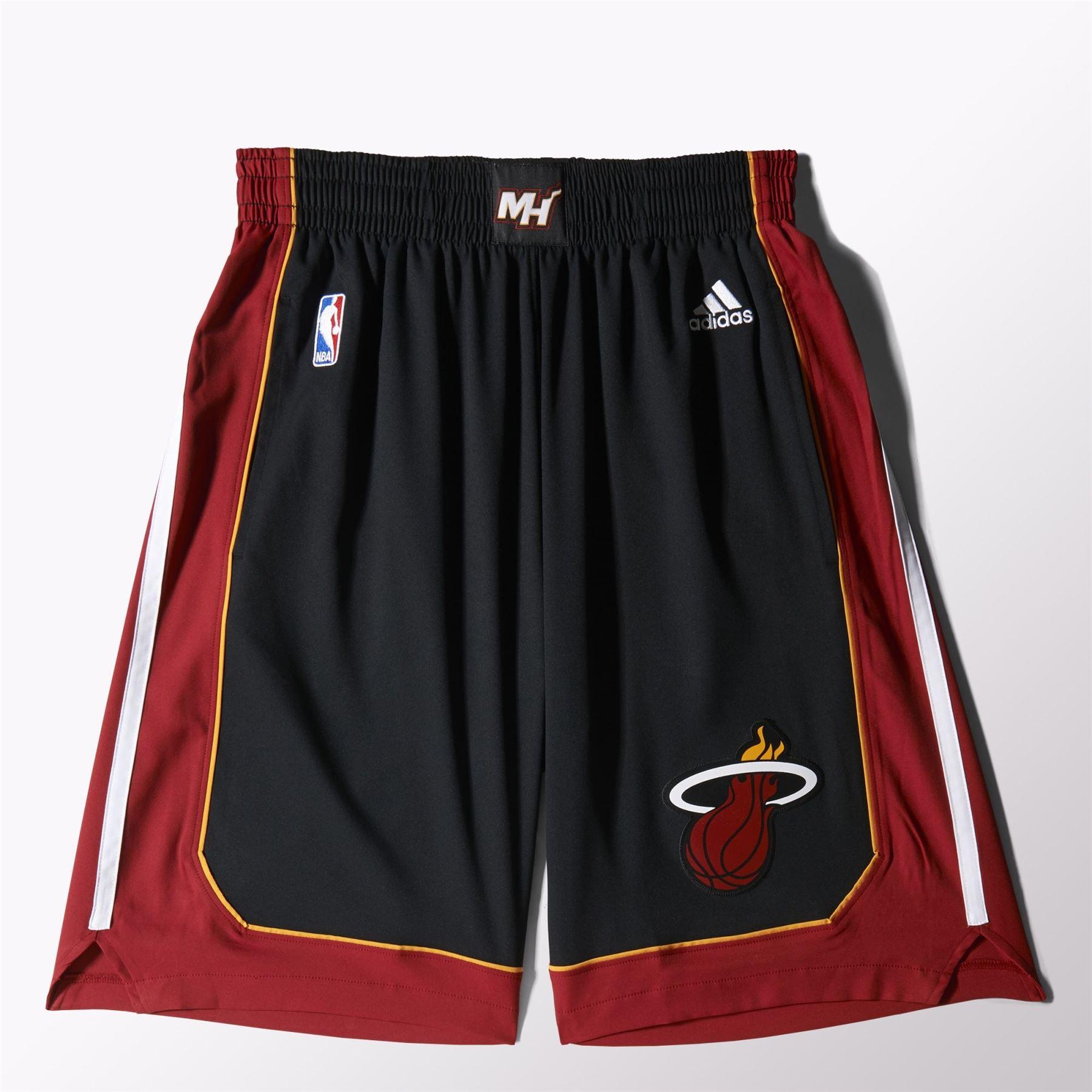 Detalles de Adidas Miami Heat International NBA 1.sports Pantalón Corto Negro Baloncesto