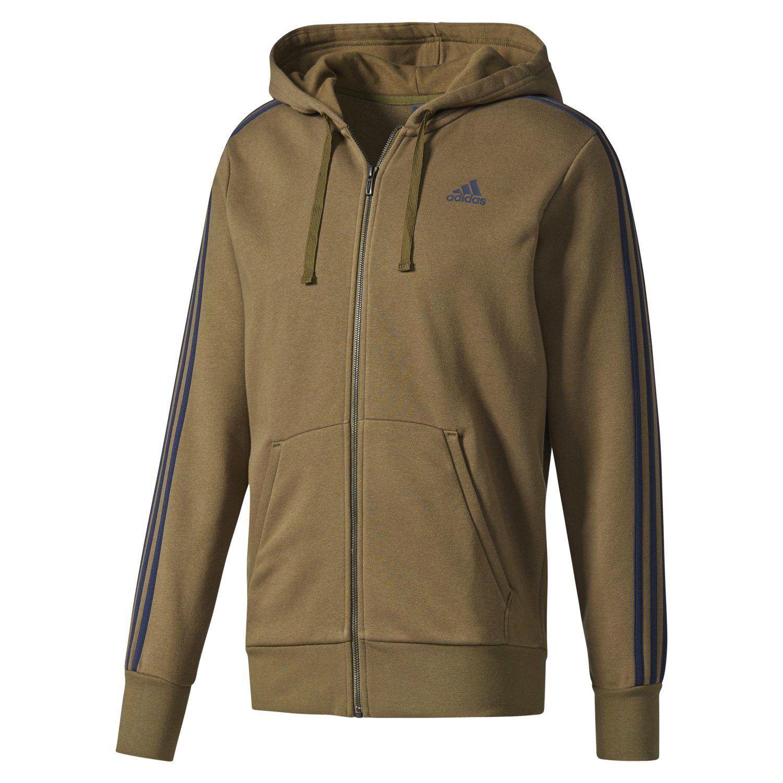 FZ HOODIE color caqui 3 rayas ZIP chaqueta de paño grueso y suave caliente  cómoda Hombres Adidas ESSENTIALS a5b56e6b34cb7
