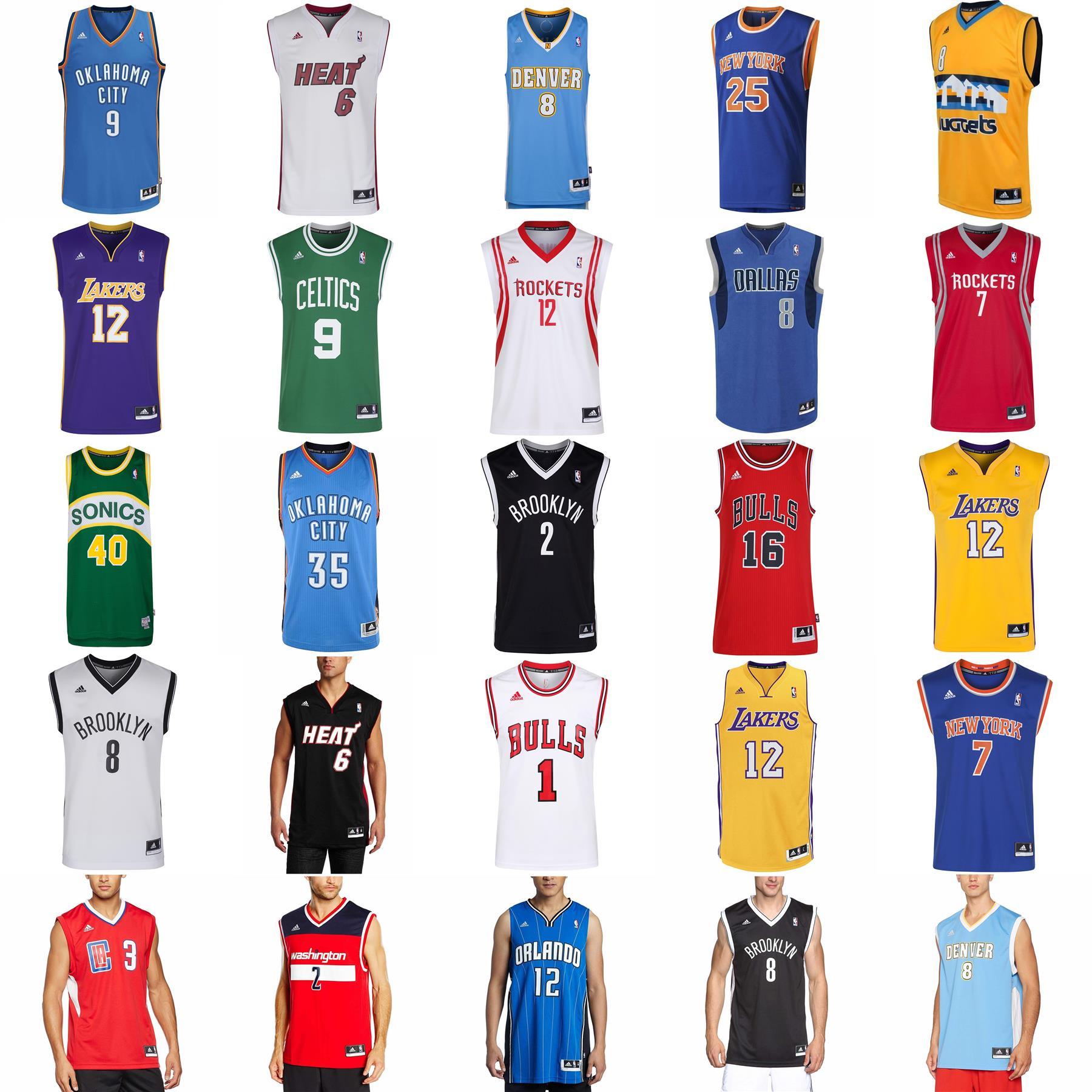 la licenciatura Final Teórico  adidas NBA BASKETBALL JERSEY ROCKETS LAKERS BULLS KNICKS NETS CELTICS SPURS  HEAT | eBay