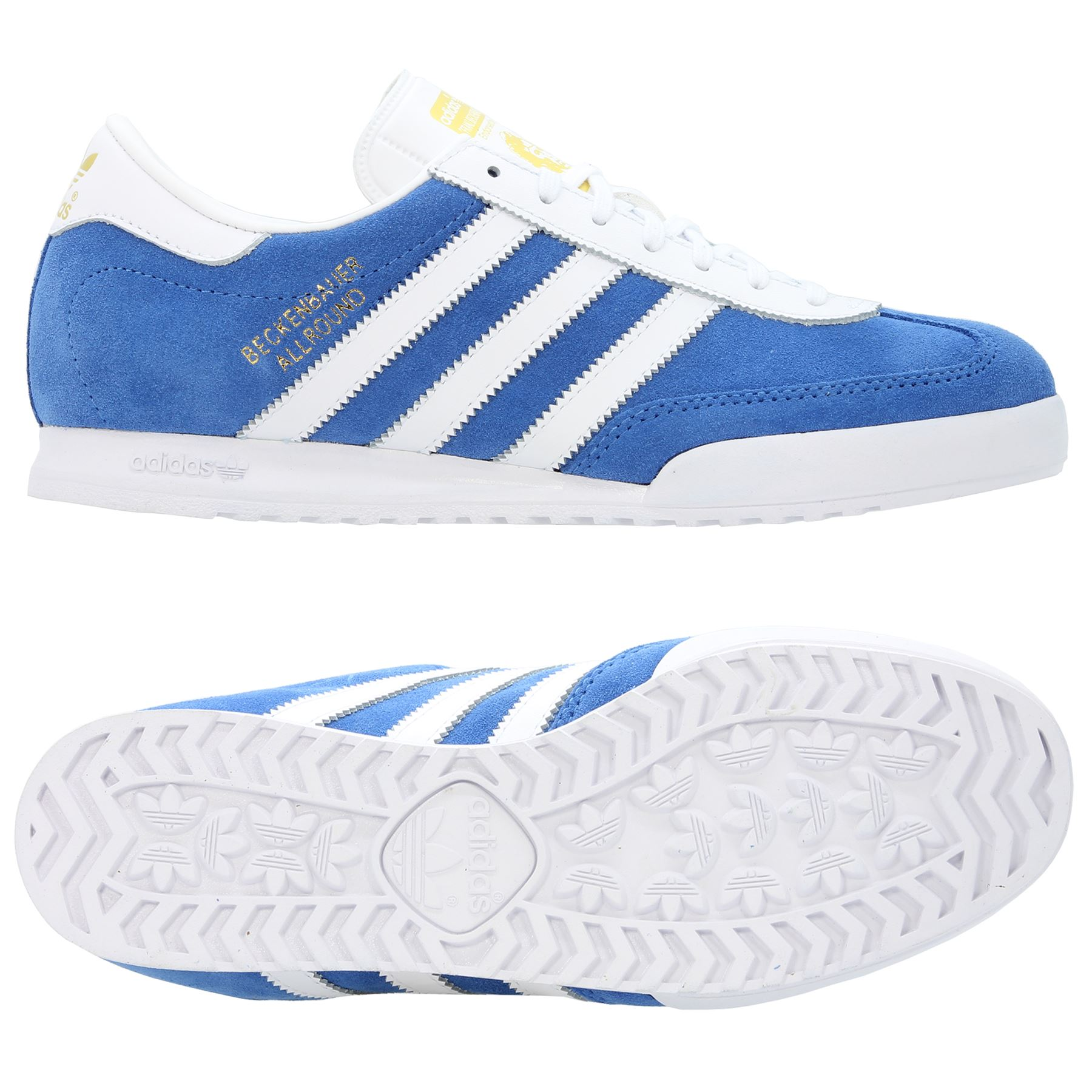 newest 96f06 bb05c Details about ADIDAS ORIGINALS MEN S BECKENBAUER TRAINERS BLUE SUEDE WHITE TRAINERS  SNEAKERS