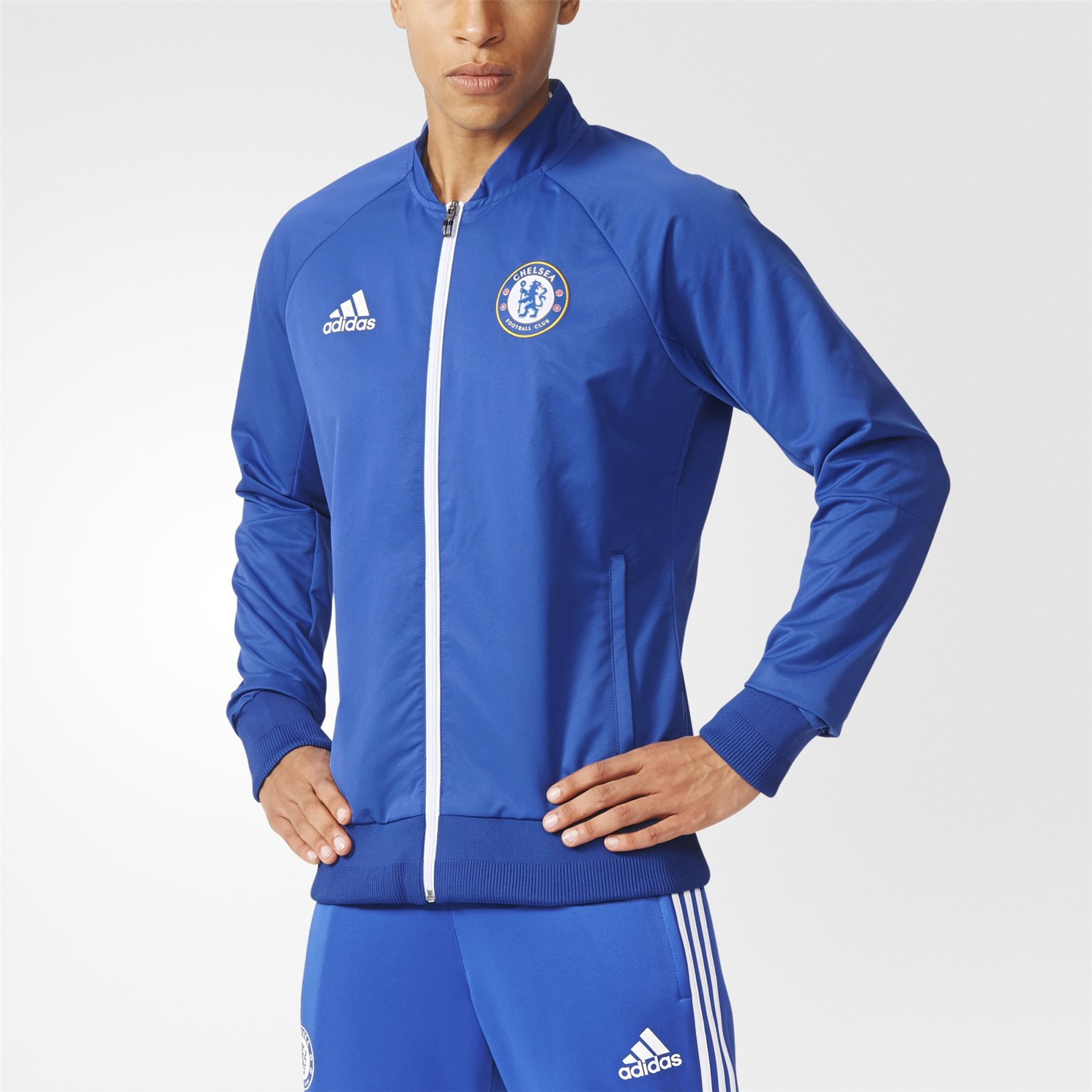 0aed94c1f Details about adidas CHELSEA FC ANTHEM JACKET BLUE MEN S FOOTBALL  PREMIERSHIP CHAMPIONS NEW