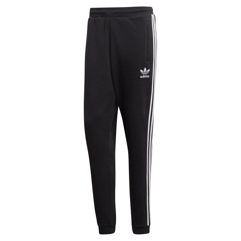 Detalles de Adidas Originals 3 Rayas Chándal Pantalones Negros Sudor Joggers HOMBRE Trébol