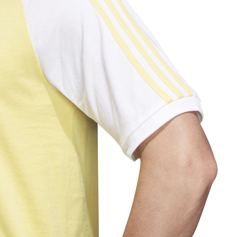 2a883db008 adidas ORIGINALS MEN'S 3 STRIPES T SHIRTS YELLOW TREFOIL RETRO CREW NECK  WHITE