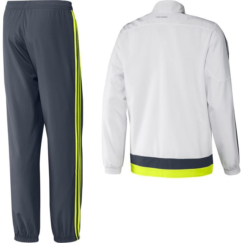 adidas REAL MADRID CHAMPIONS LEAGUE TRACK SUIT MEN S PRESENTATION WHITE  GREY NEW 015419e423264