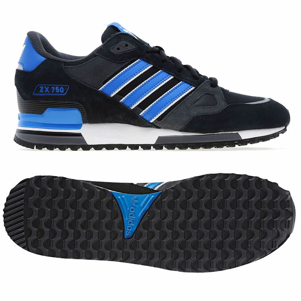 936907c32 ADIDAS ORIGINALS ZX 750 MENS RUNNING TRAINERS BLUE BLACK NAVY SNEAKERS  SHOES NEW