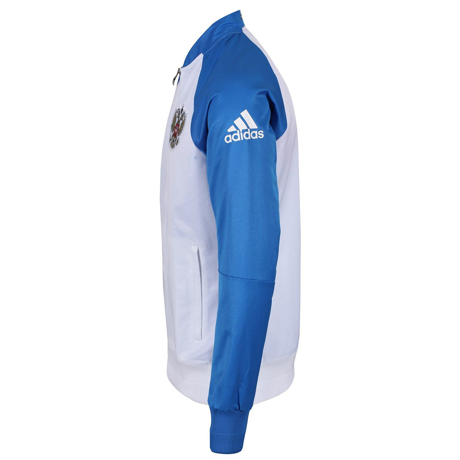 adidas RUSSIA NATIONAL FOOTBALL TEAM FULL ZIP ANTHEM JACKET WHITE MEN/'S WOVEN