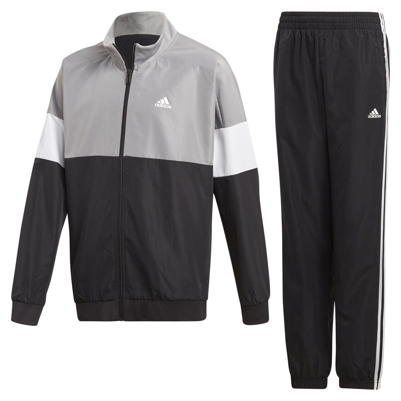 f125b0bae8bf TRAINING tuta nero grigio TOP pantaloni sport FITNESS di Adidas ESSENTIALS  BOY