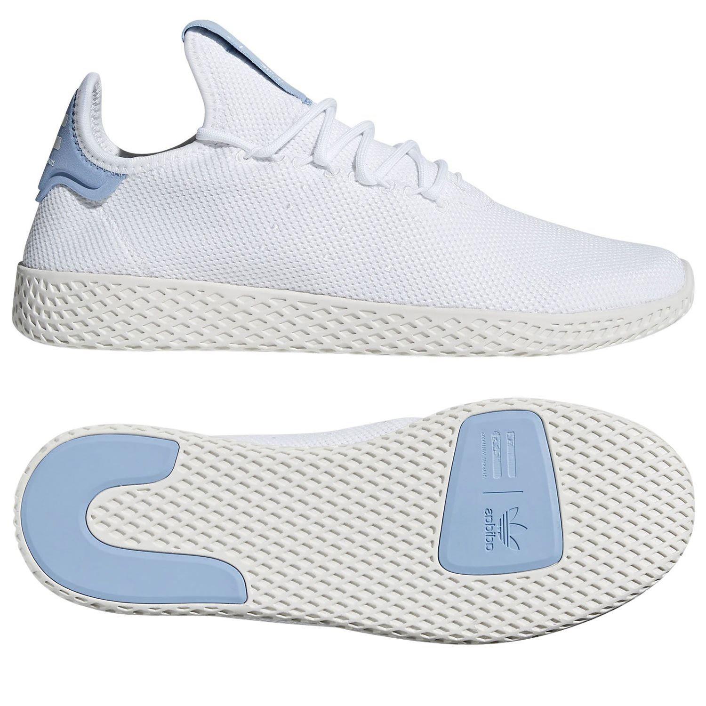 adidas PHARRELL WILLIAMS HU TENNIS TRAINERS WHITE BLUE MEN'S UNISEX SUMMER NEW