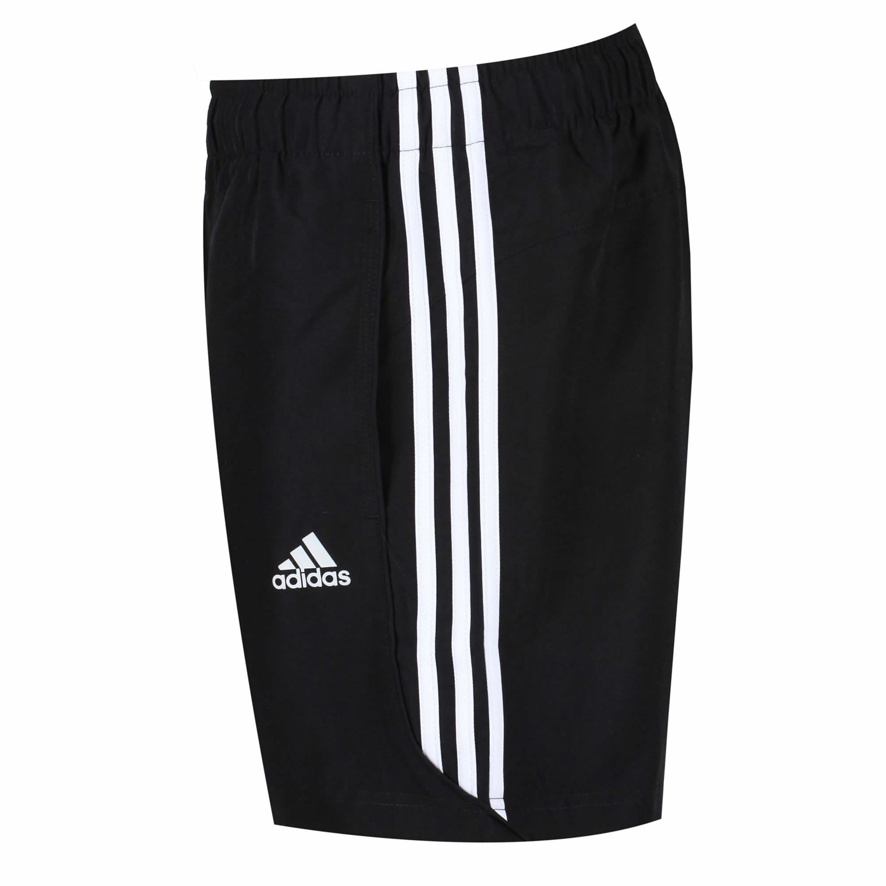 adidas ESSENTIALS 3 STRIPE CHELSEA SHORTS MEN S BLACK WHITE CLIMALITE GYM cebdd5329