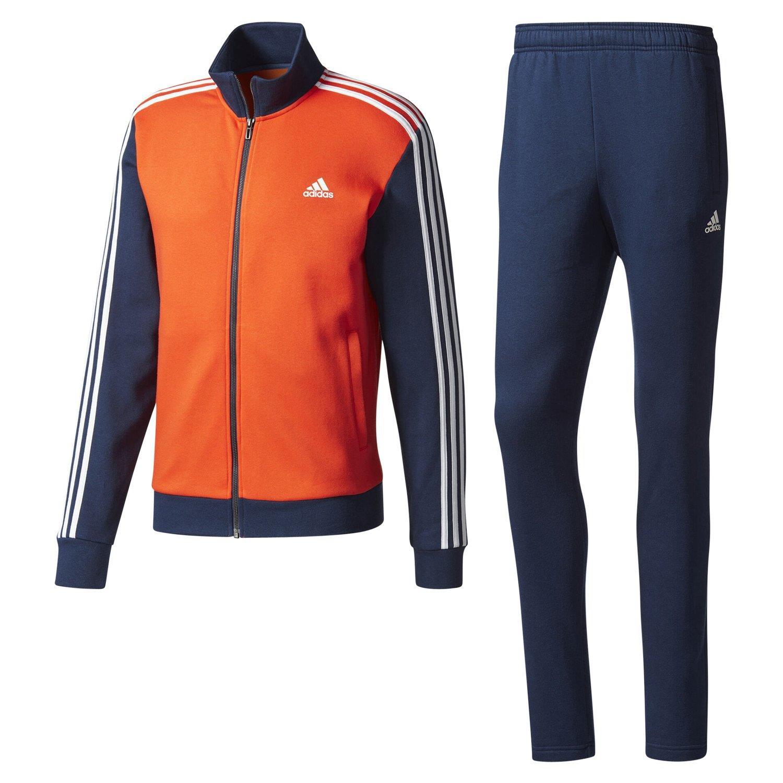 Dettagli su Adidas Essentials Uomo Rilassarsi Tuta Completa Arancione Navy Comodo Sports Gym