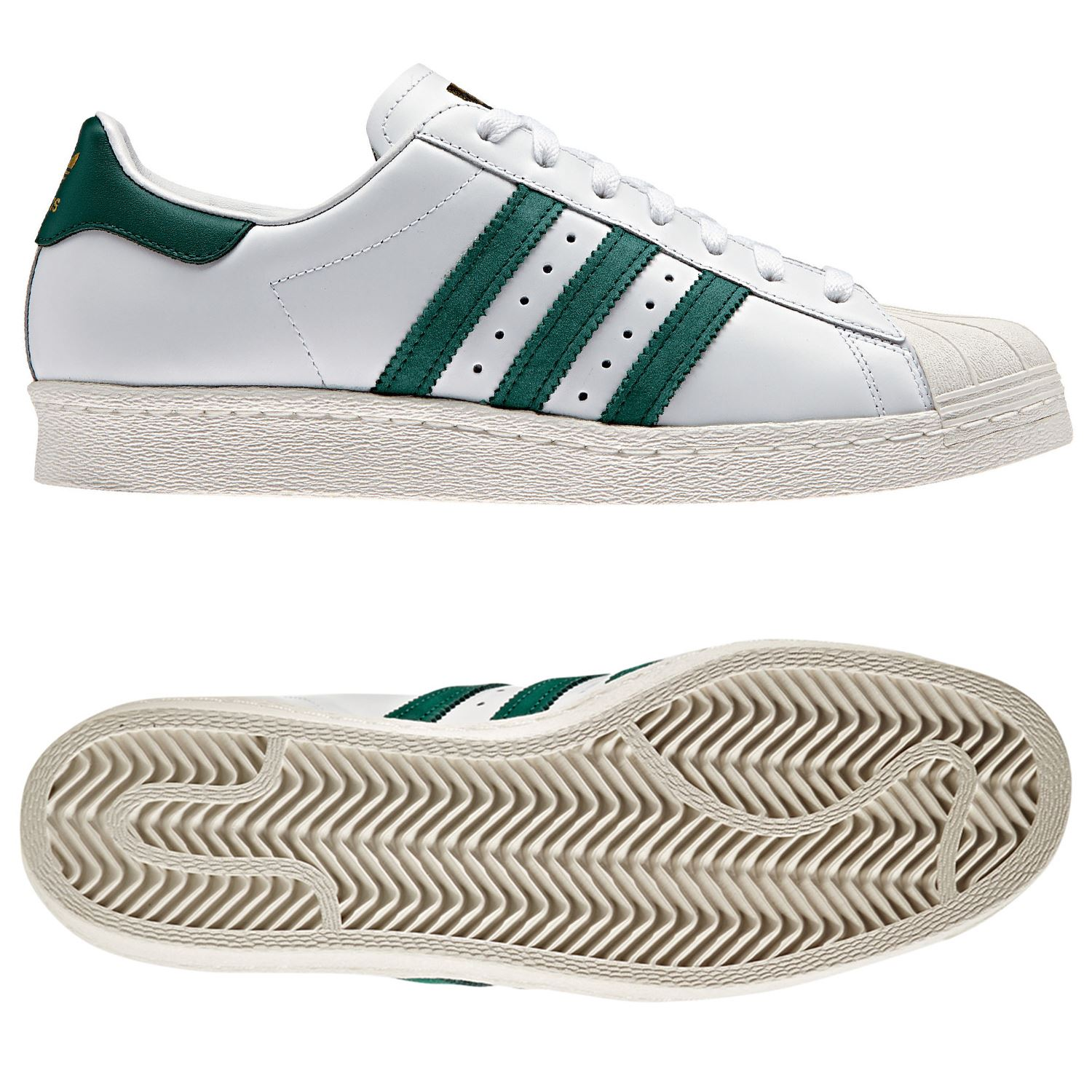 Adidas Originals Superstar 80s Trainers White Green Shoes Sneakers