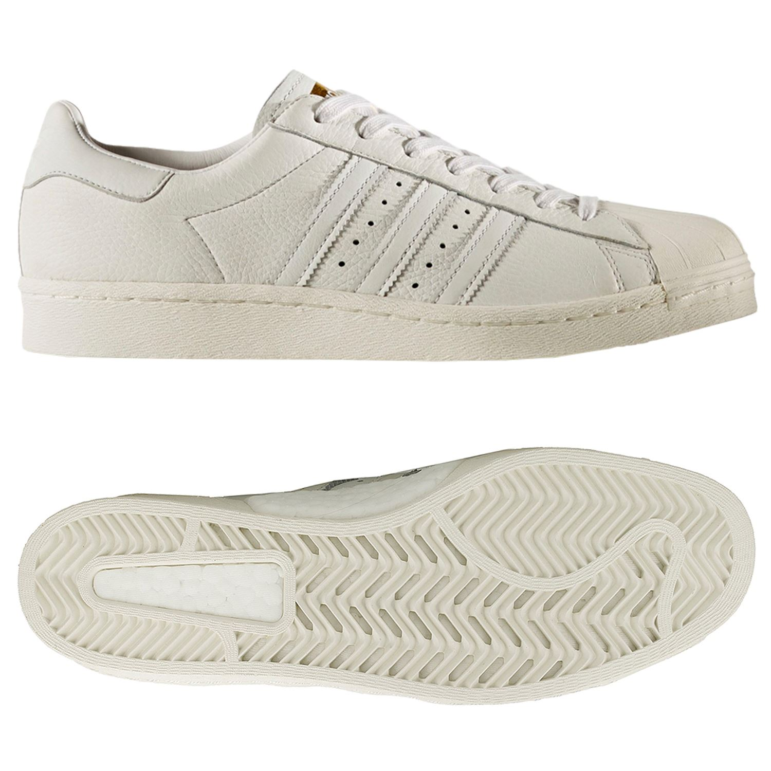 adidas Originals Superstar Boost Sneaker Full Grain Leder Schuhe BB0187 Weiß
