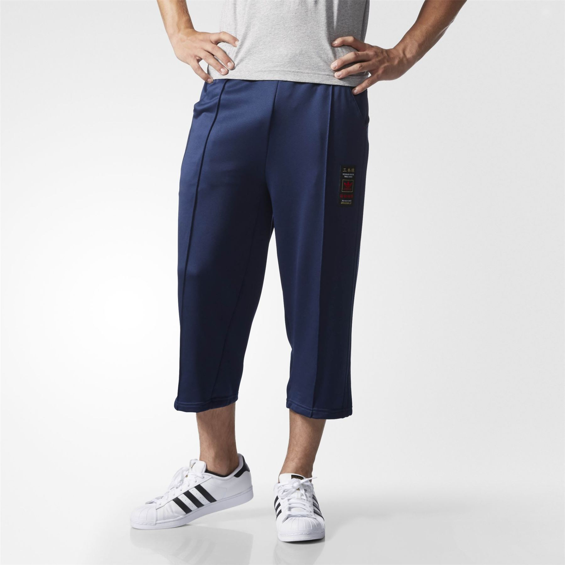 adidas ORIGINALS BUDO WIDE LEG CROPPED SWEATPANTS NAVY MEN/'S RARE DEADSTOCK