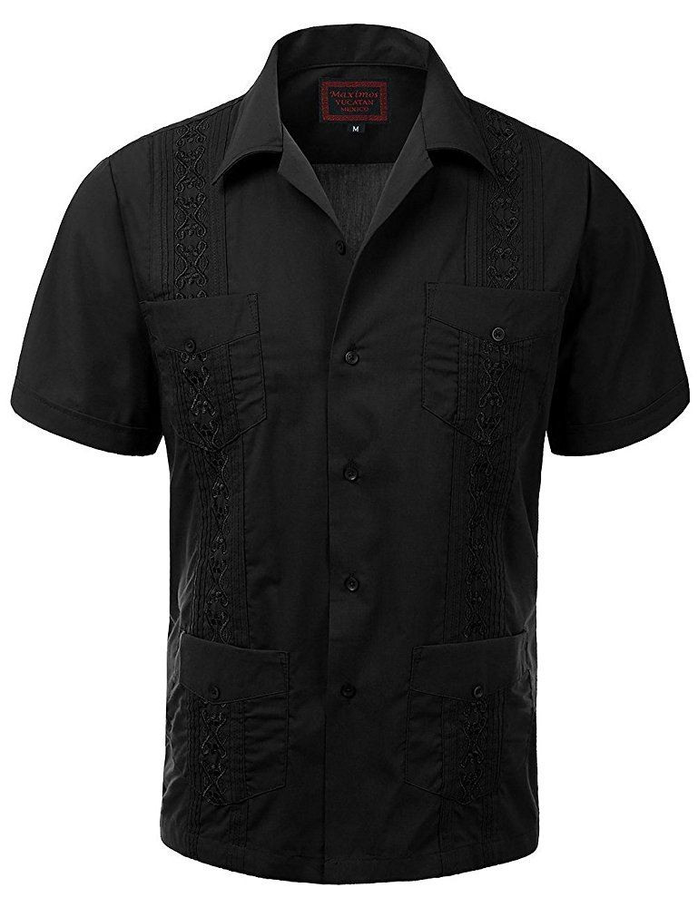 Maximos beach wedding guayabera black short sleeve men 39 s for Button up mens shirt