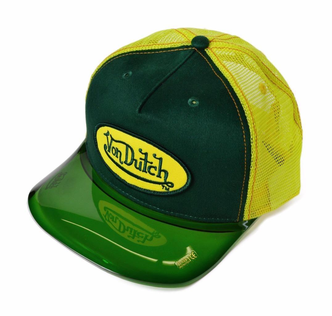6b311fef89a63 VON DUTCH Verde Amarillo Para Hombres Gorra Sombrero Headgear Con ...