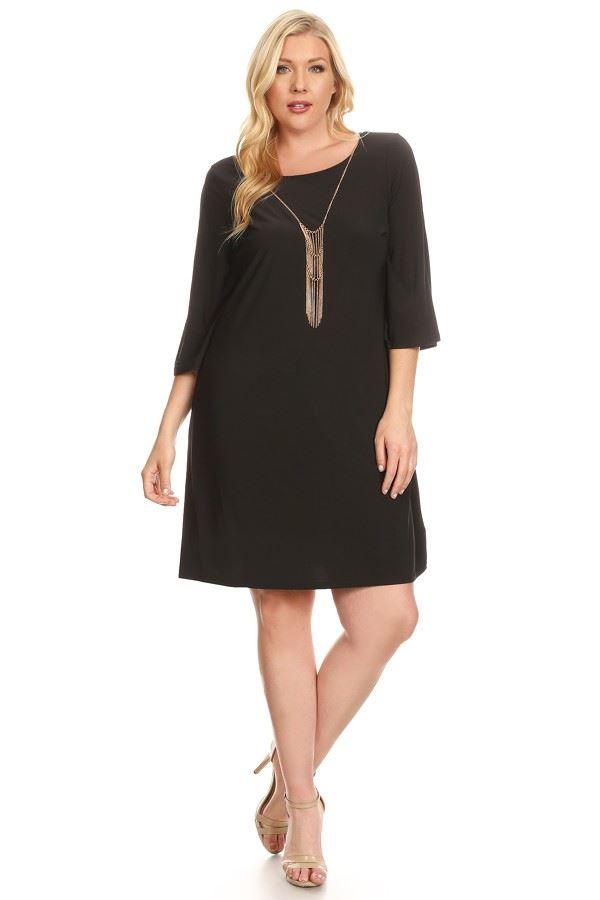 LUXOLOGY WOMEN\'S PLUS Size Round Neck Dress 3/4 Sleeve Black ...