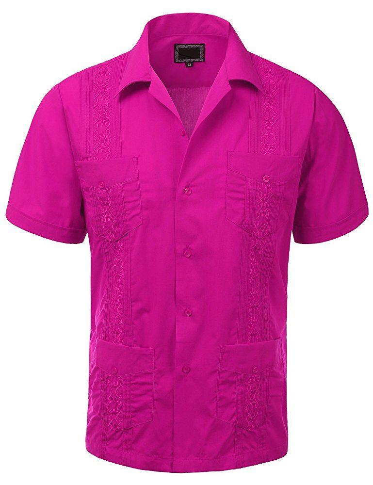 MAXIMOS-MEN-039-S-SHORT-SLEEVE-BUTTON-UP-CUBAN-GUAYABERA-DRESS-SHIRT thumbnail 15