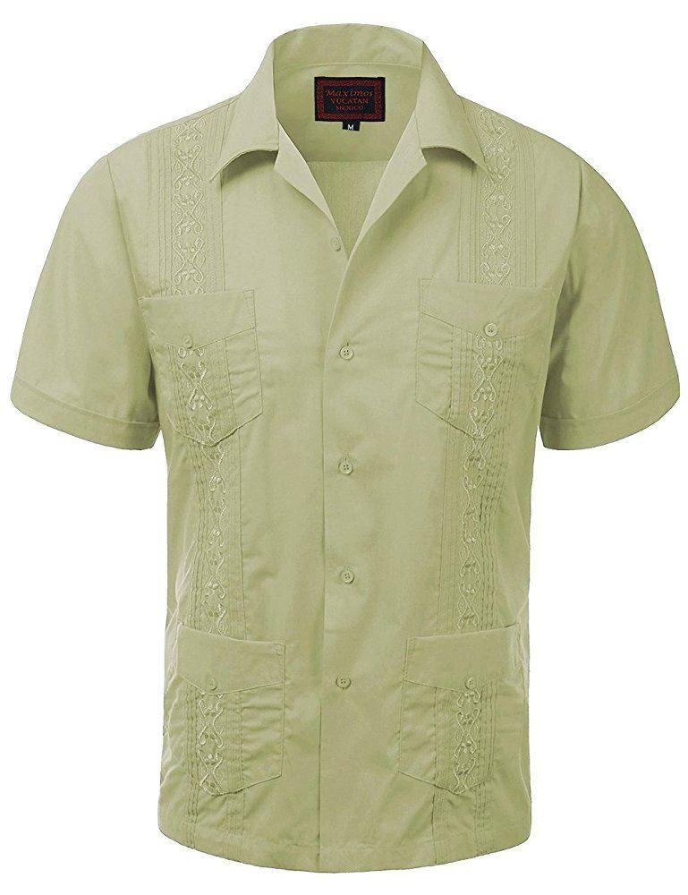 MAXIMOS-MEN-039-S-SHORT-SLEEVE-BUTTON-UP-CUBAN-GUAYABERA-DRESS-SHIRT thumbnail 2