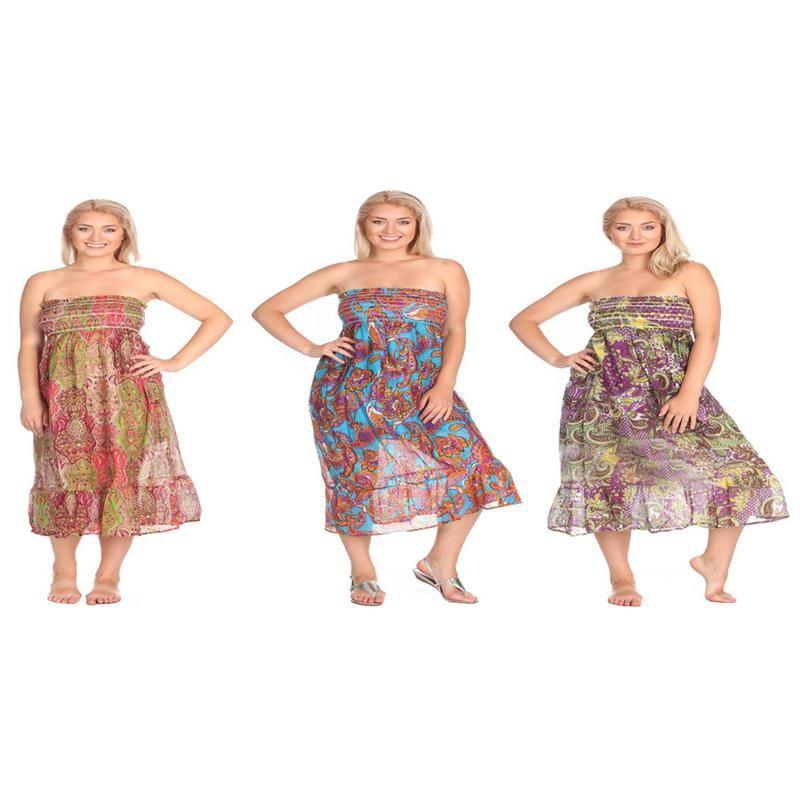 New Women/'s 100/% Cotton Strapless Sun Dress Floral Smock
