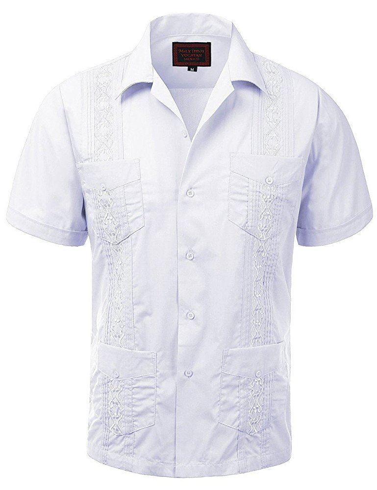 MAXIMOS-MEN-039-S-SHORT-SLEEVE-BUTTON-UP-CUBAN-GUAYABERA-DRESS-SHIRT thumbnail 17