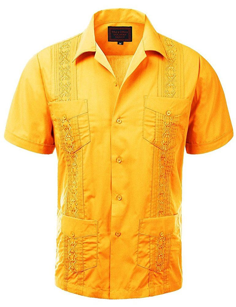 Guayabera Men/'s Button Up Short Sleeve Beach Wedding Embroidered Shirt In Sand