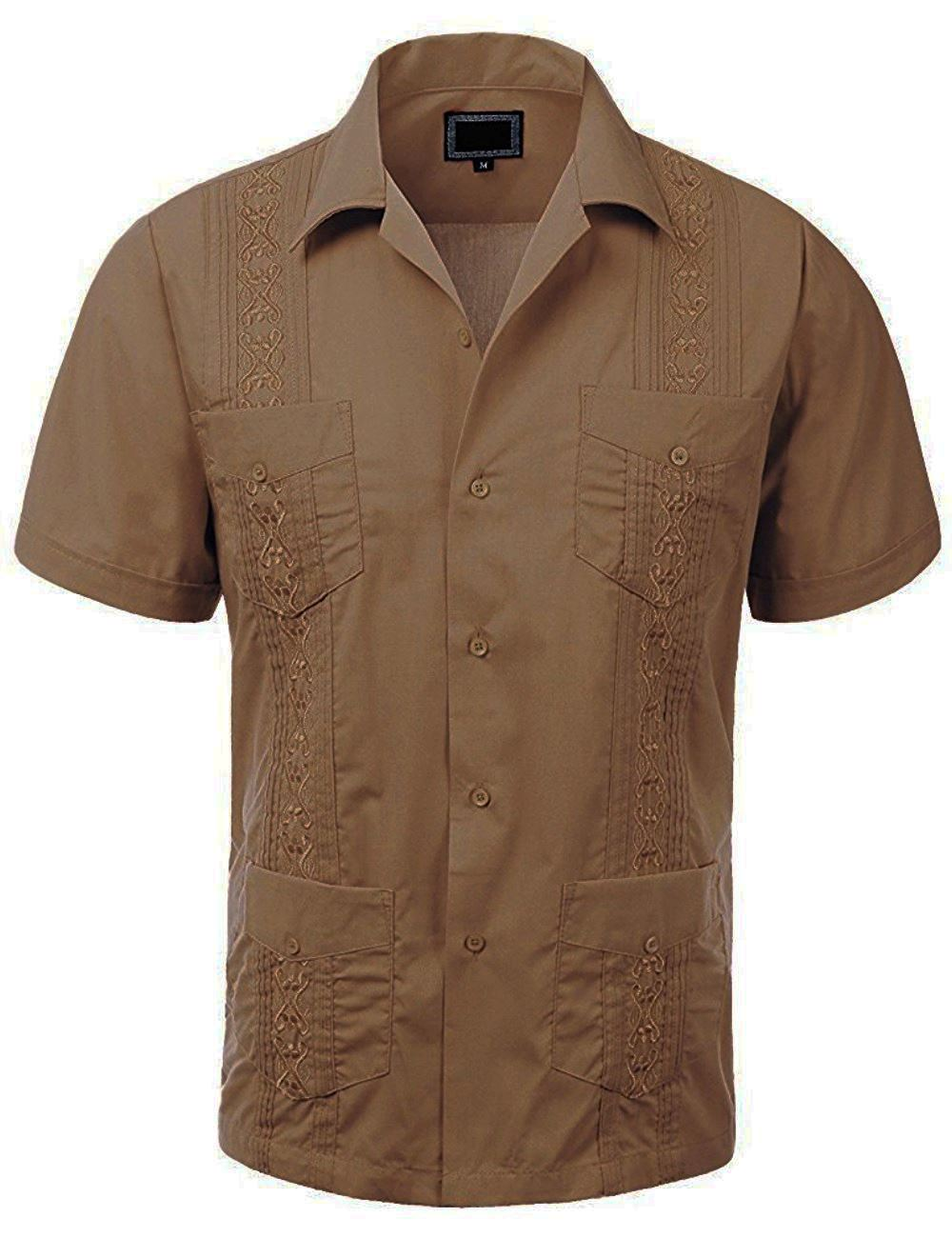 MAXIMOS-MEN-039-S-SHORT-SLEEVE-BUTTON-UP-CUBAN-GUAYABERA-DRESS-SHIRT thumbnail 16