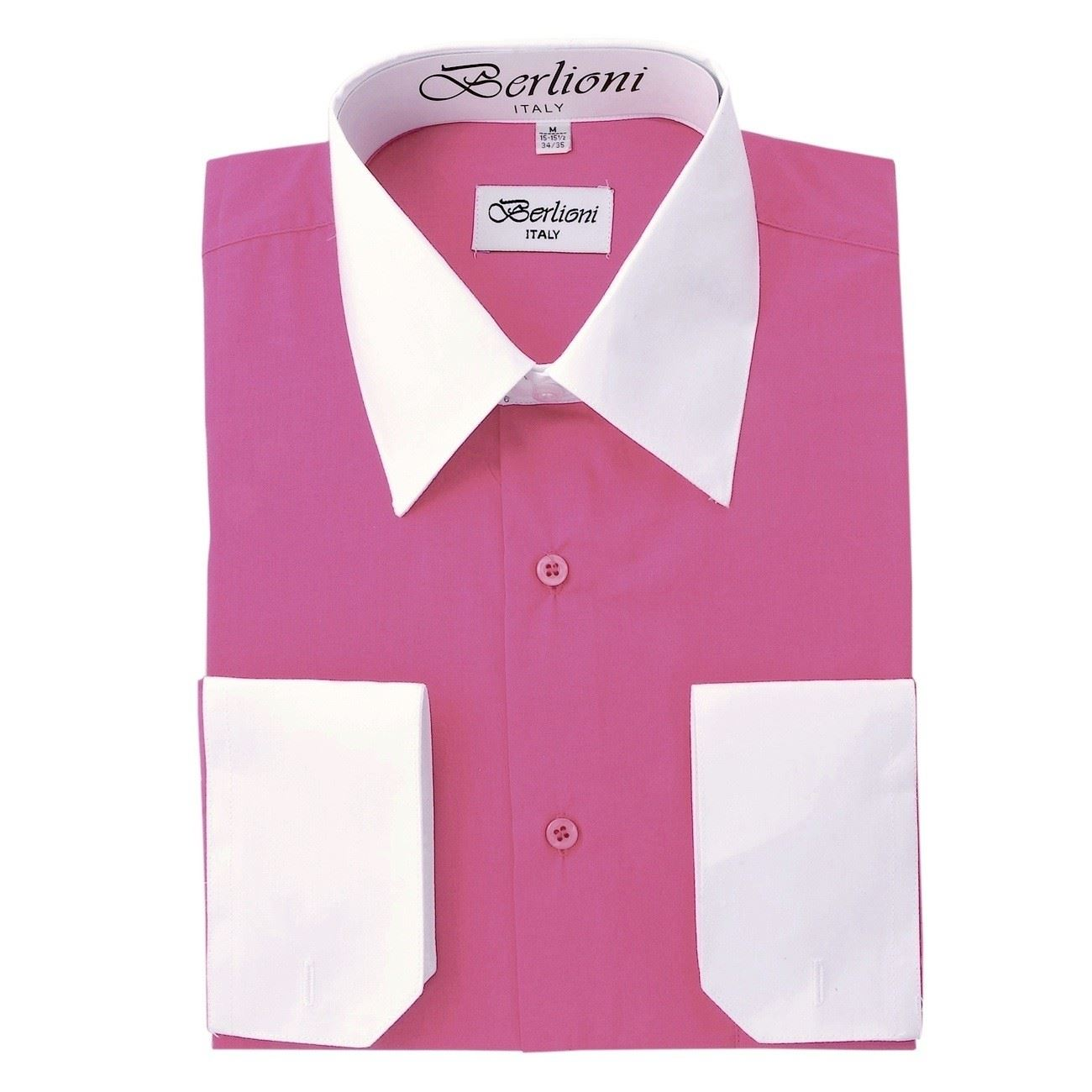 Berlioni mens italy dress shirt two tone french for Mens dress shirt french cuff