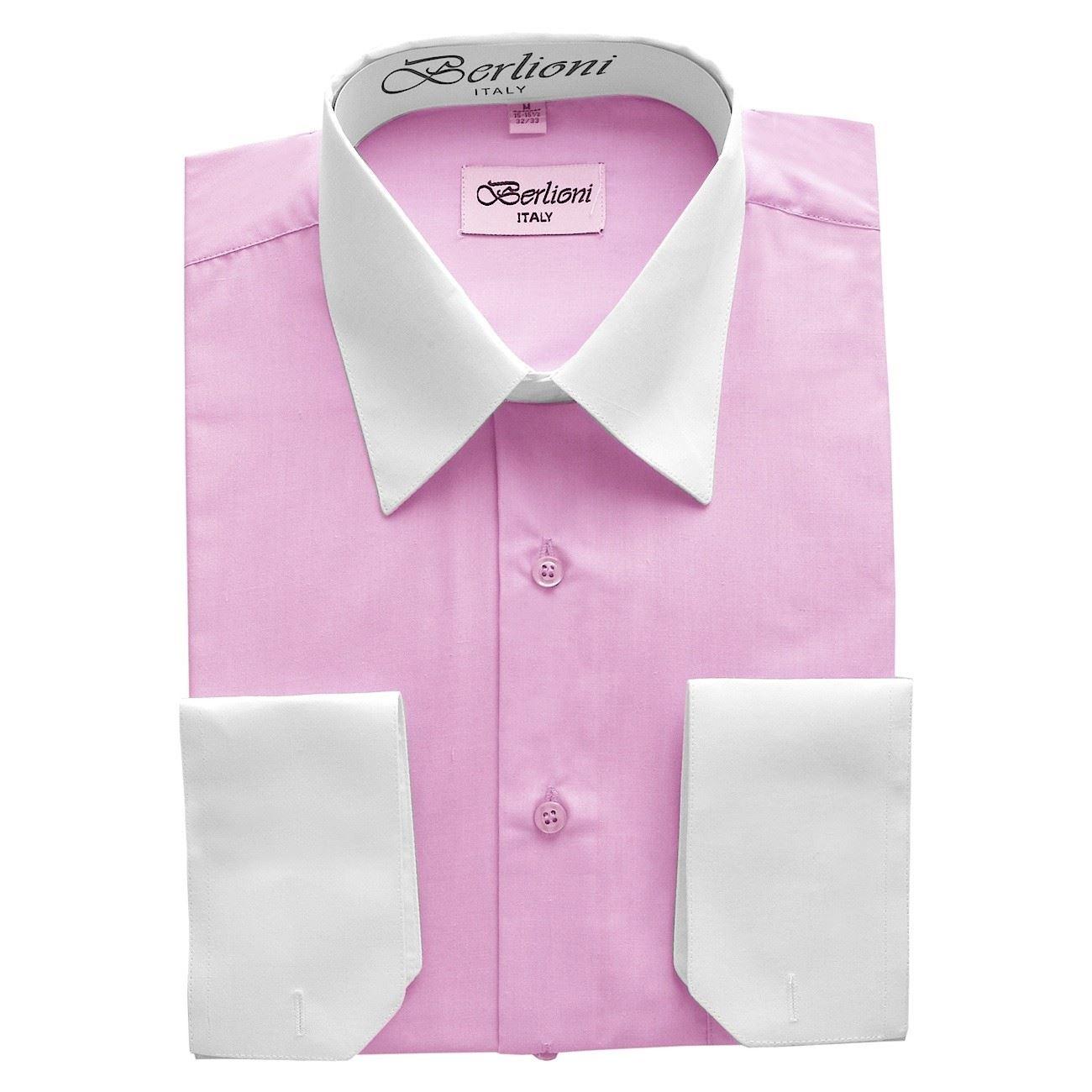 Berlioni mens italy dress shirt two tone long sleeve shirt for Mens dress shirts sizes