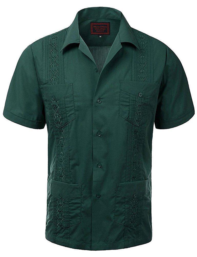 MAXIMOS-MEN-039-S-SHORT-SLEEVE-BUTTON-UP-CUBAN-GUAYABERA-DRESS-SHIRT thumbnail 14